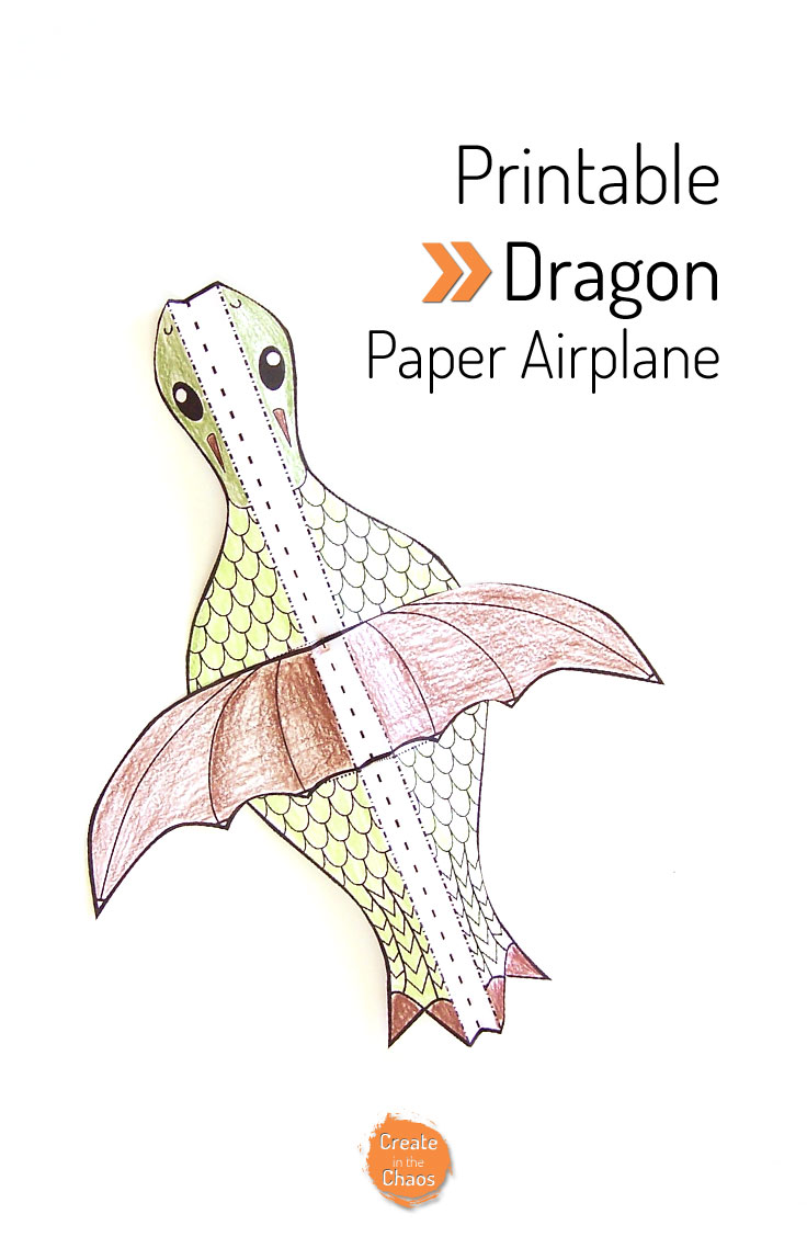 Printable flying dragon craft create in the chaos for Cardboard dragon template