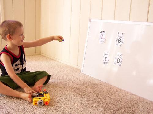 Printable robot alphabet + nerf gun targets www.createinthechaos.com