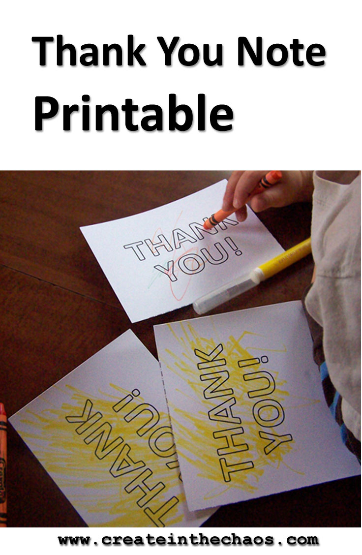 Free thank you note printable for kids to color www.createinthechaos.com
