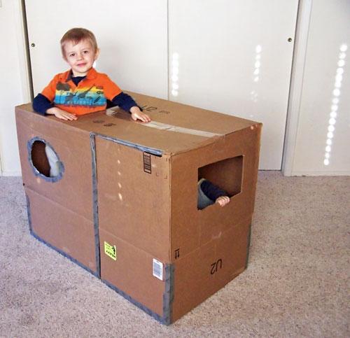 DIY Kid's Cardboard House www.createinthechaos.com
