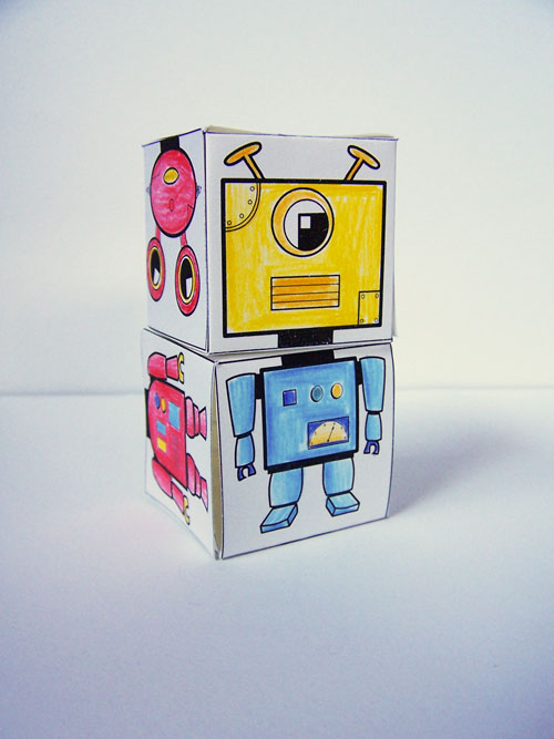 Printable robot blocks - a fun kids craft to color www.createinthechaos.com