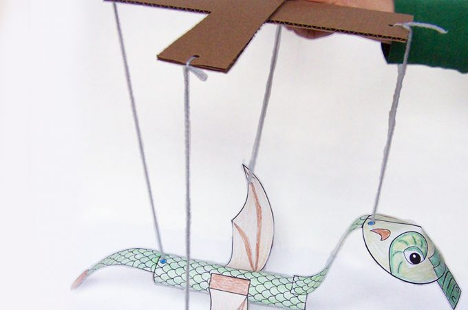 Printable Dragon Marionette Puppet