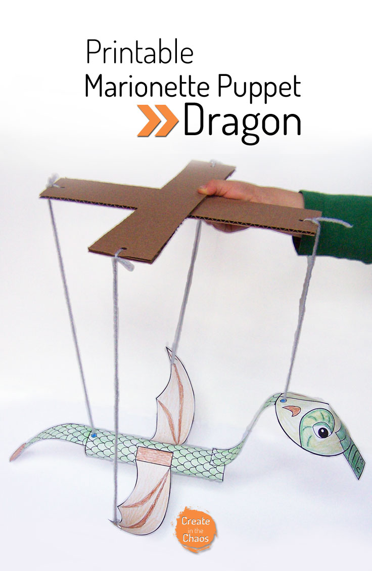 Printable Dragon marionette puppet www.createinthechaos.com
