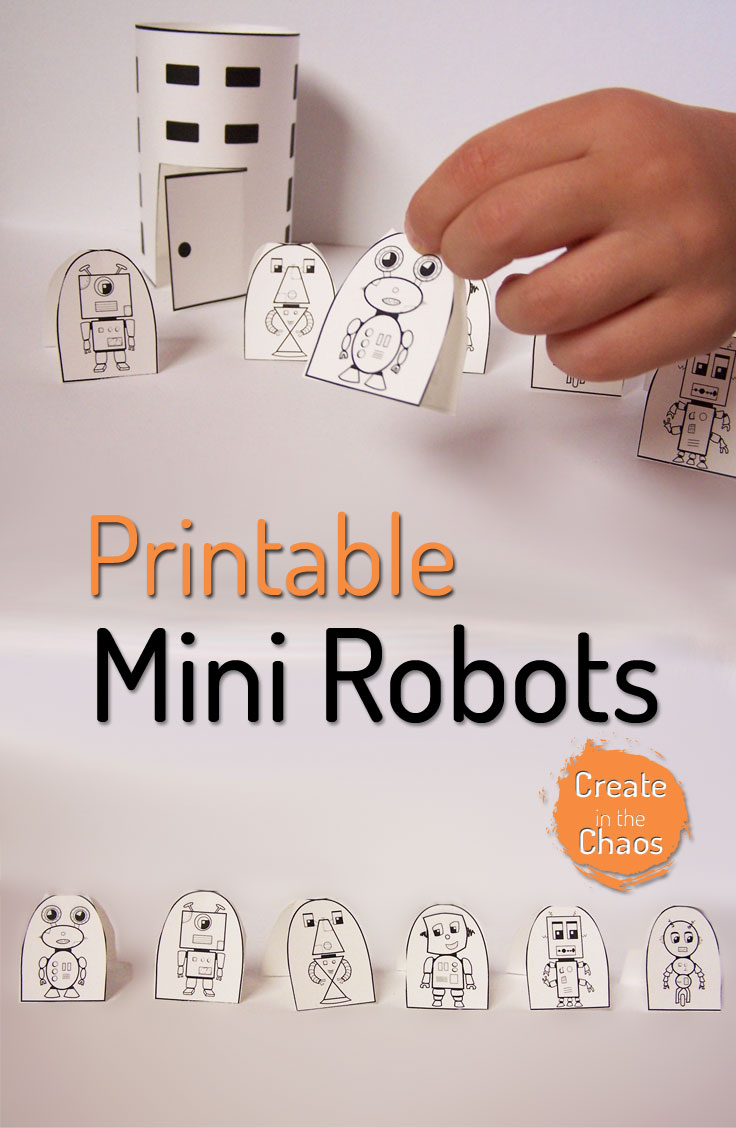 So cute! Printable mini robot playset www.createinthechaos.com