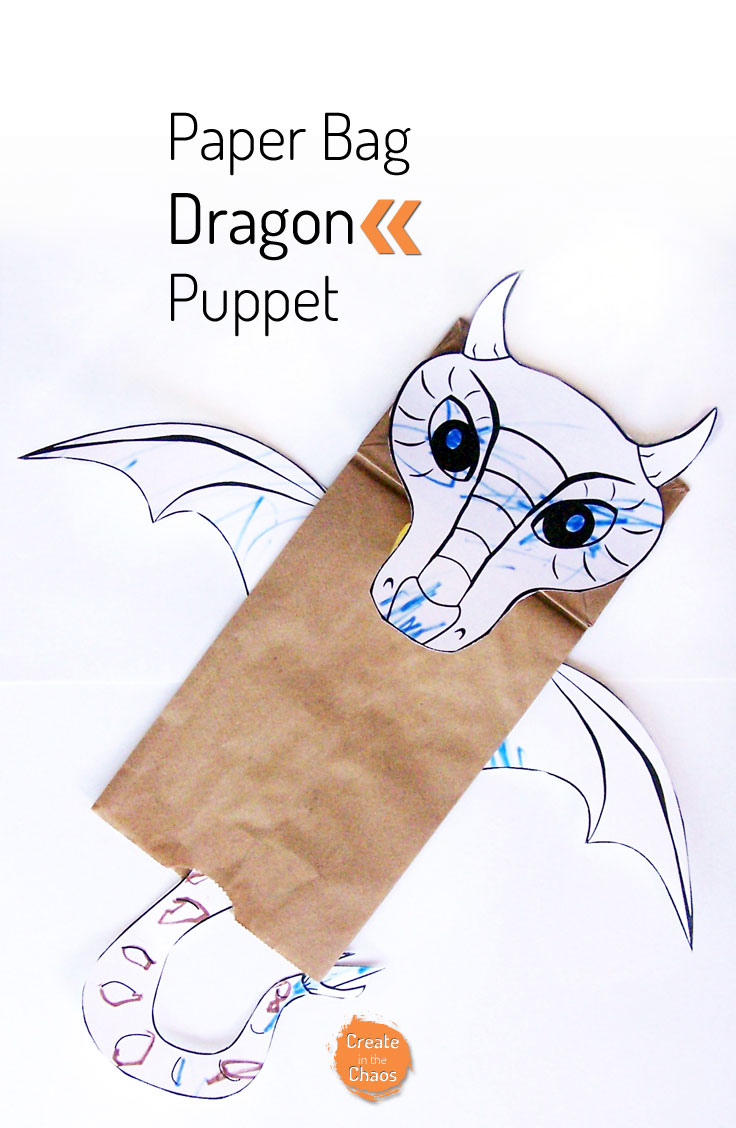 photograph about Printable Paper Bag Puppets known as Paper Bag Dragon Puppet - Establish within just the Chaos