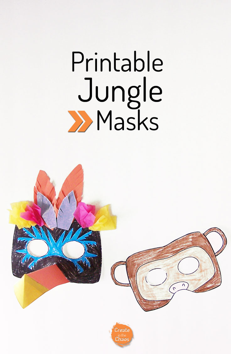 image about Monkey Mask Printable identified as Printable Jungle Masks - Toucan and Monkey - Develop inside of the Chaos