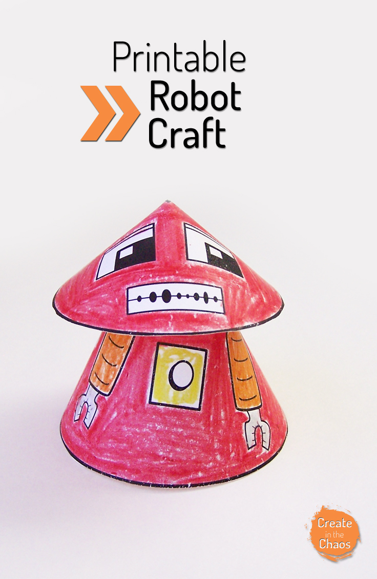 Printable robot craft - fun craft for boys www.createinthechaos.com
