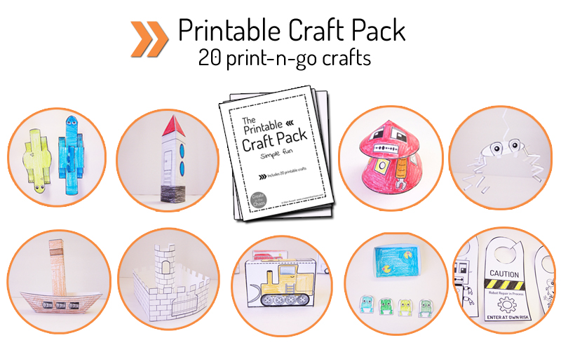 Printable craft pack - 20+ simple crafts and activities for kids - includes robots, pirate ships, spaceship, dinosaurs, and more