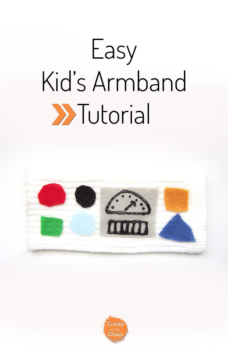 No sew DIY Kid's Armband tutorial www.createinthechaos.com