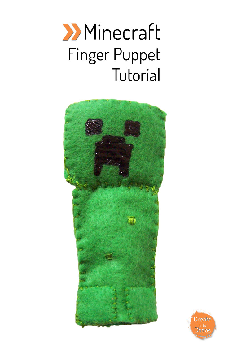 DIY Minecraft Creeper felt finger puppet tutorial - super fun and easy craft www.createinthechaos.com