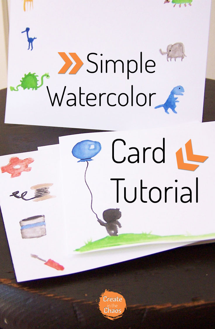 Simple and cute watercolor card tutorial - some fun ideas to try! www.createinthechaos.com
