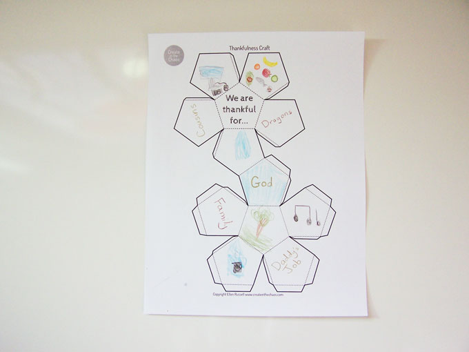 "Printable 3D Thanksgiving kids craft - share all the things you're thankful for with this free printable activity. ""We are thankful for..."" tetradecahedron www.createinthechaos.com"