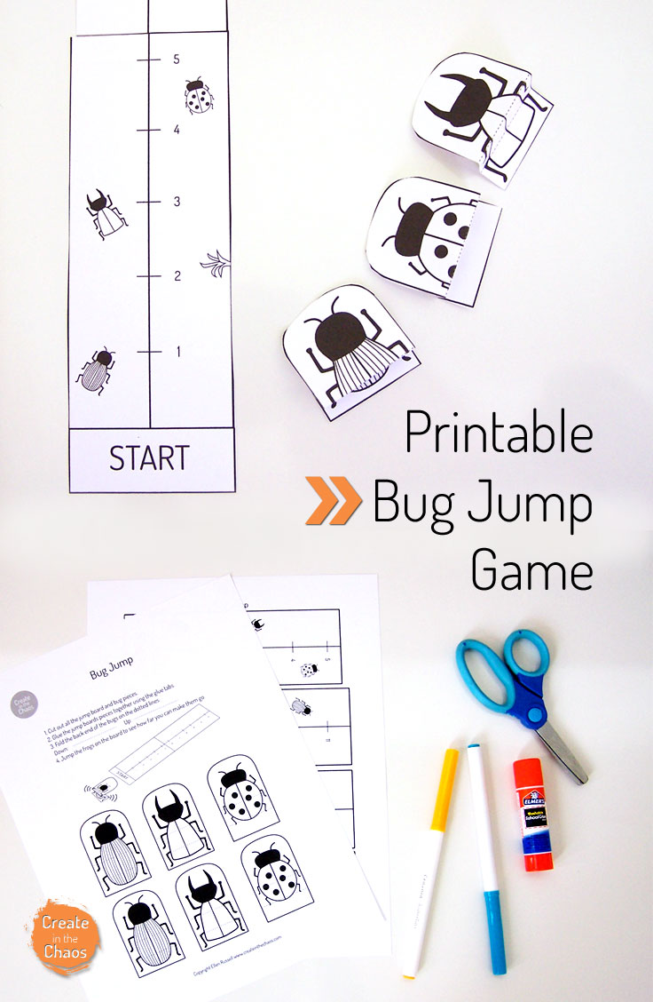 Free printable bug activity for kids - printable bugs jump game. Plus lots of other free printable crafts on the site www.createinthechaos.com
