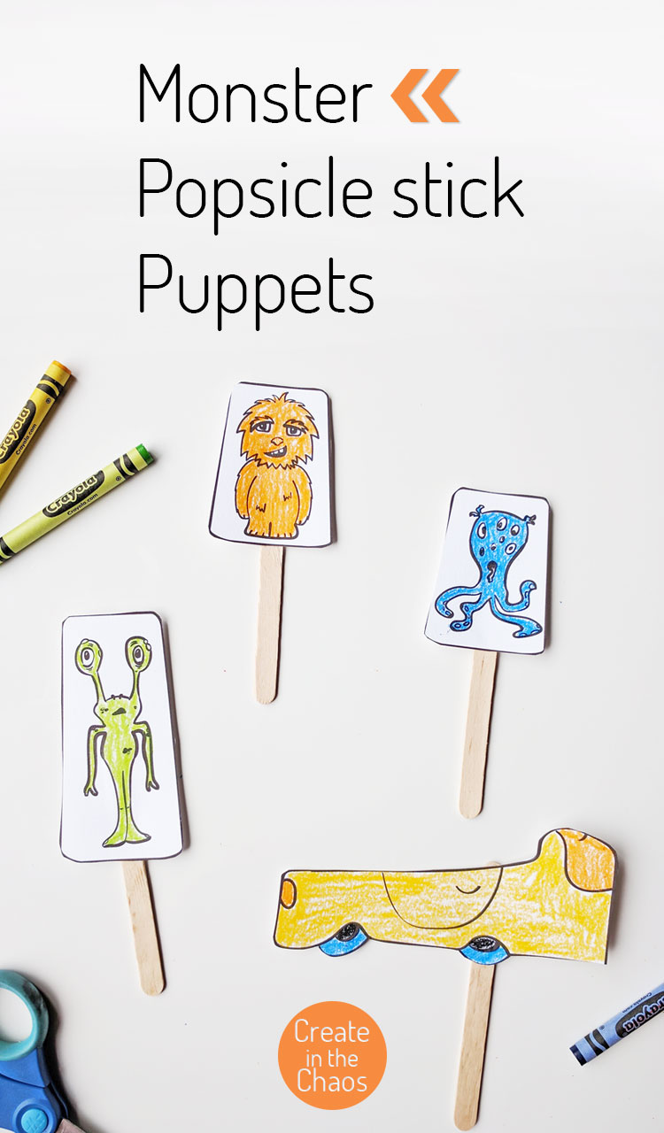 Quick and easy craft for kids - monster popsicle stick puppets! Includes a free printable to print out and color. Great for use at home or in the classroom.