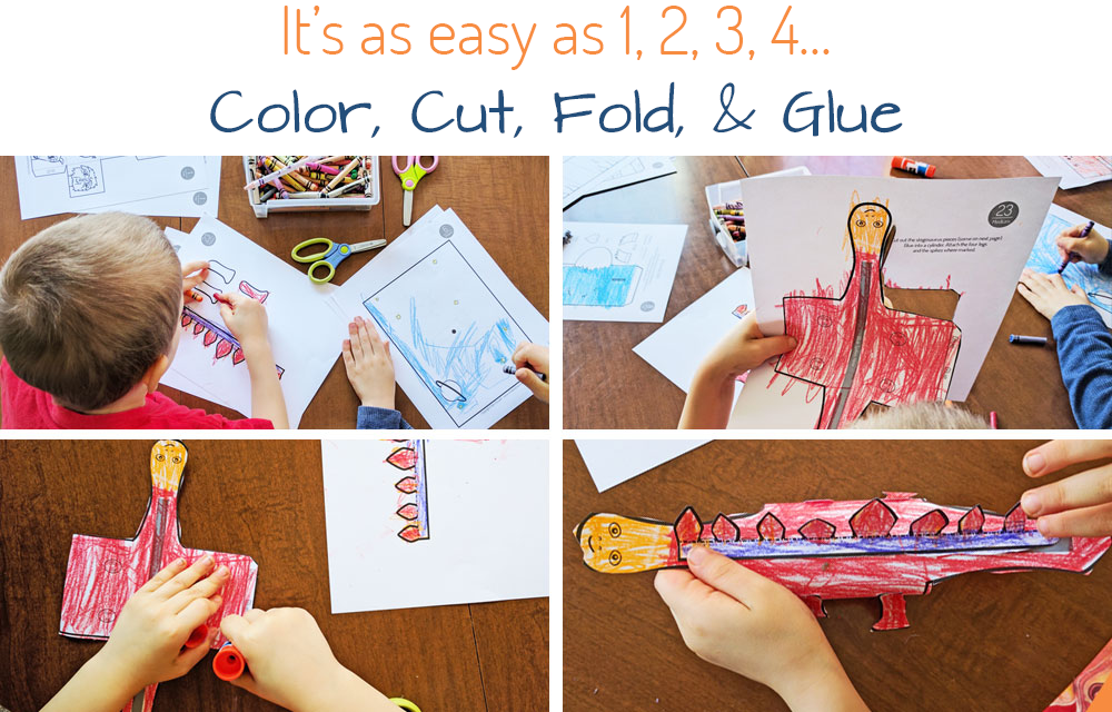 Easy Crafting for Kids - Just color, cut, fold, & glue!