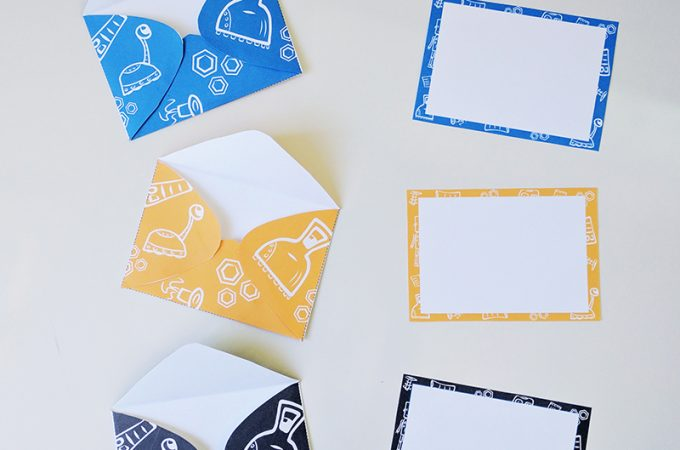 Printable Robot Notecards & Envelopes