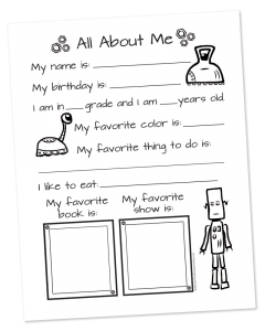 All About Me printable survey - robot themed