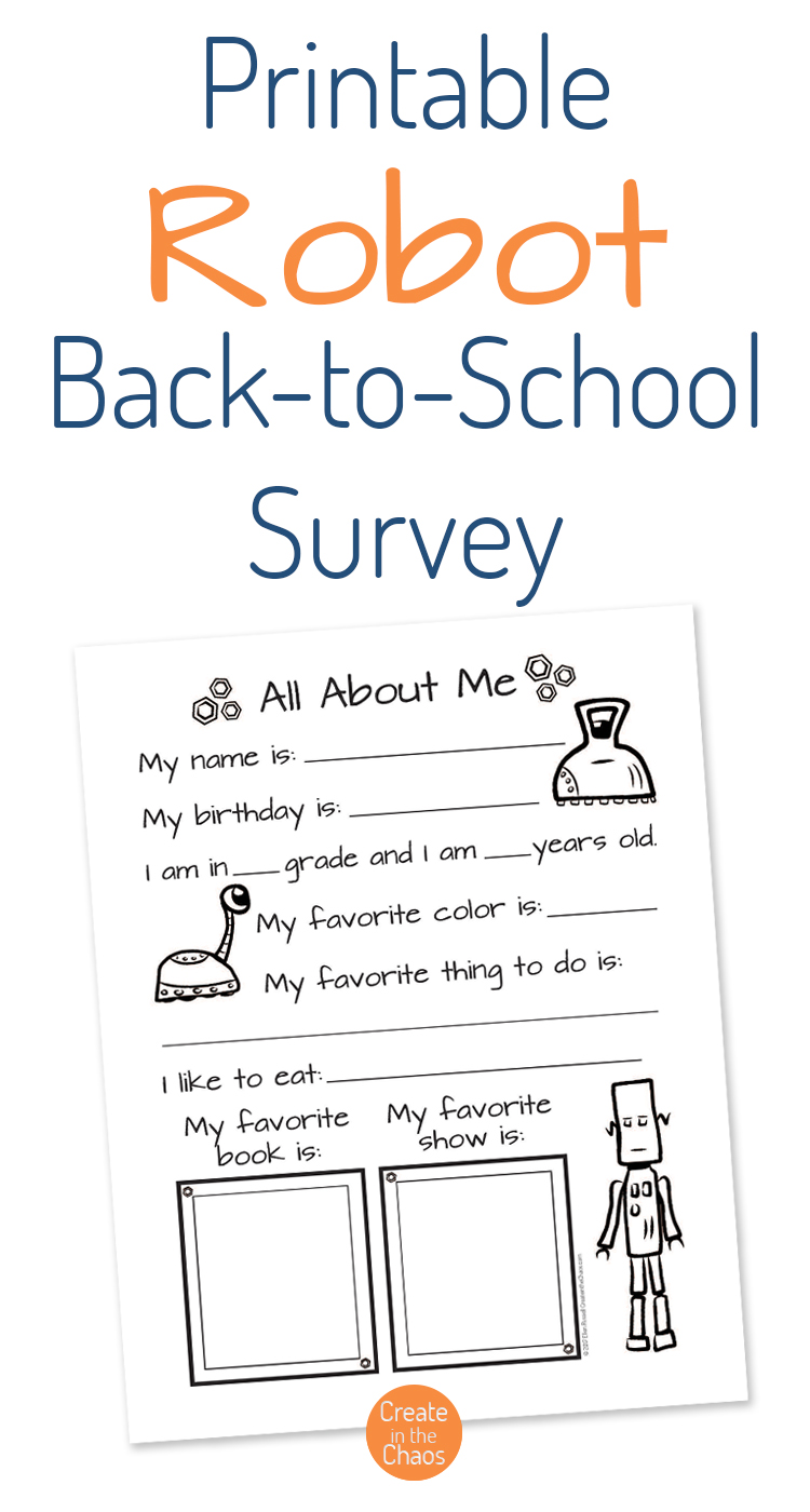 robot themed back to school survey create in the chaos
