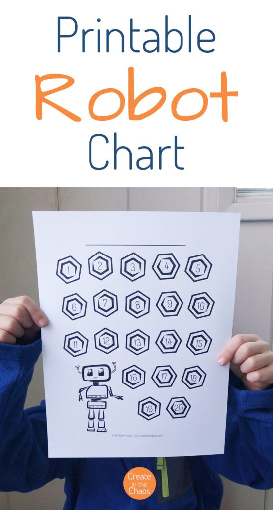 Printable Robot Chart - reading tracker
