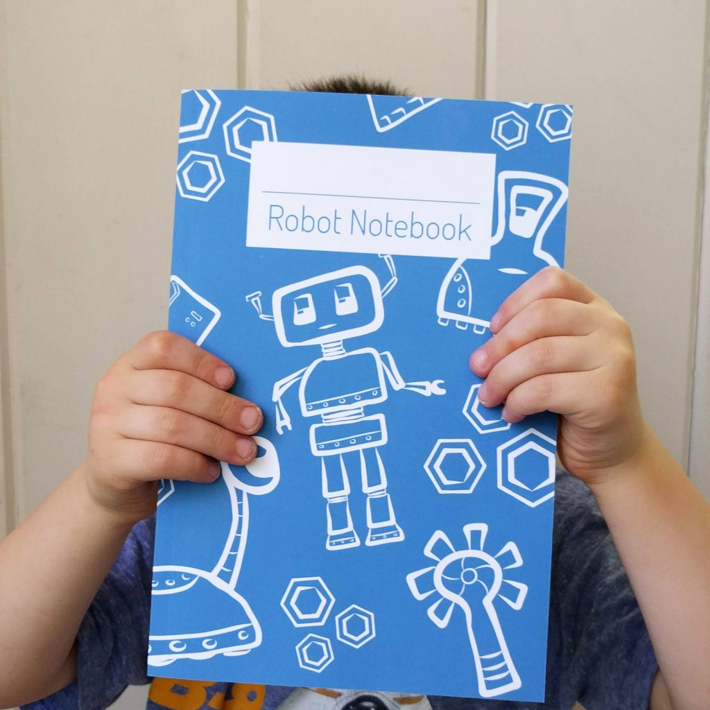 Blue robot journal for kids