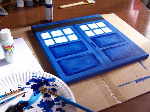 Blue Canvas Art Diy: DIY TARDIS Canvas Painting Tutorial