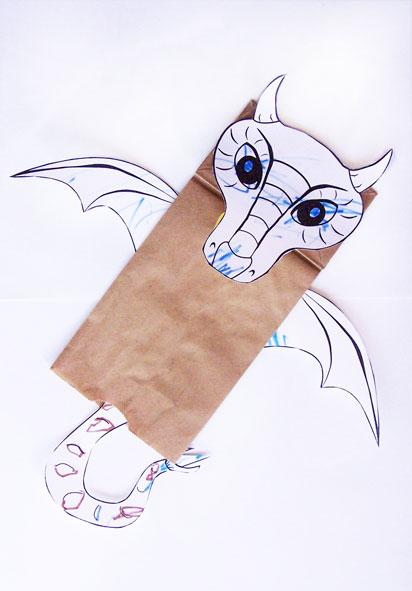 Paper Bag Dragon Puppet