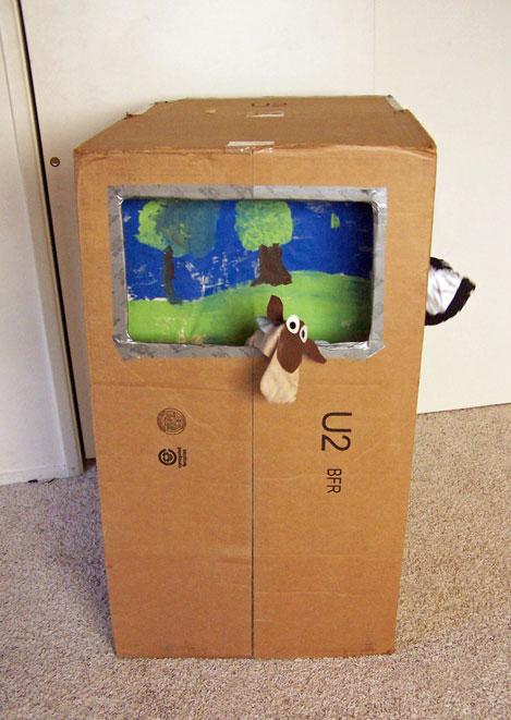 DIY Cardboard Box Puppet Theater www.createinthechaos.com