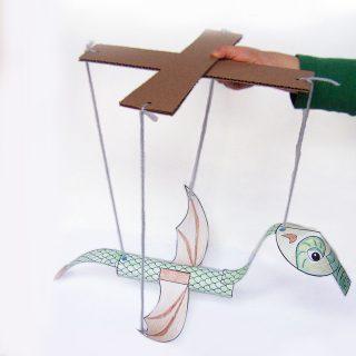 Printable Dragon marionette puppet