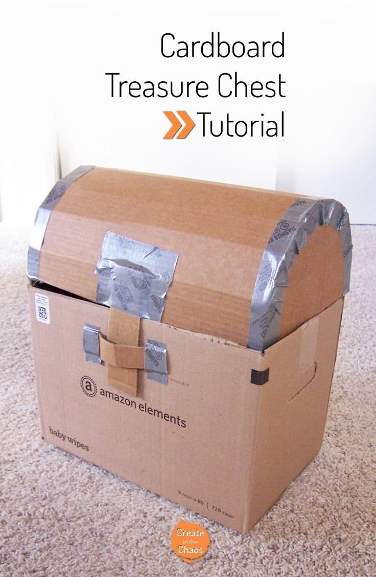 DIY Cardboard treasure chest tutorial www.createinthechaos.com