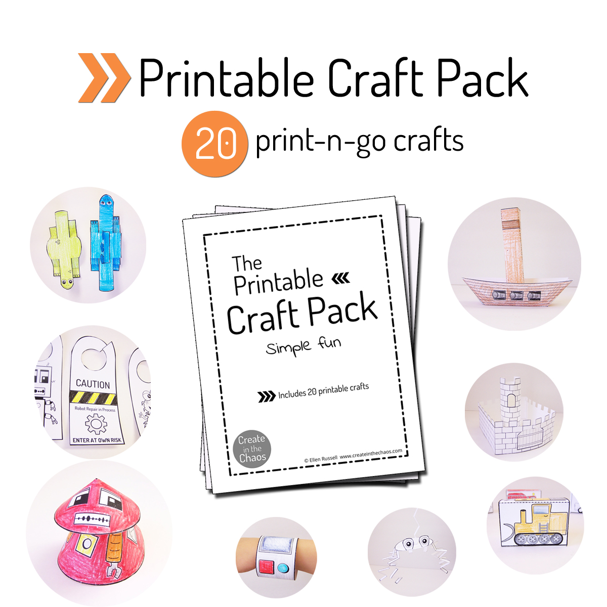 Awesome pack of 20 printable crafts - includes robots, dinosaurs, monsters, and more! www.createinthechaos.com