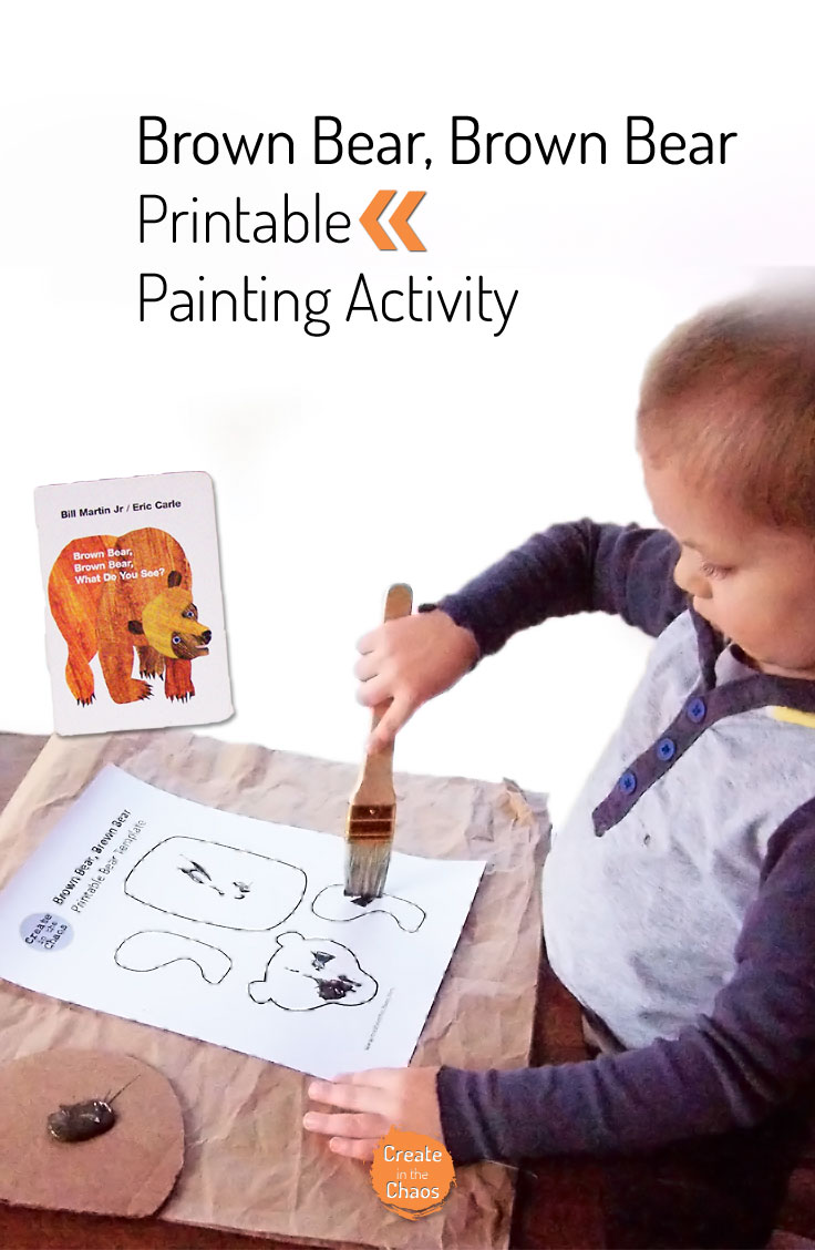 A fun craft to do with the Brown Bear, Brown Bear book - printable painting activity for kids www.createinthechaos.com