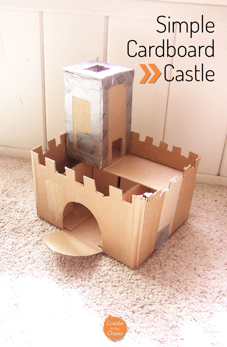 Easy craft - small cardboard castle www.createinthechaos.com