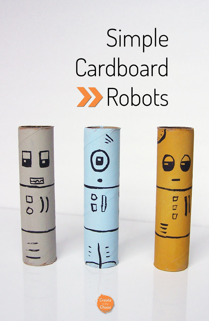 Make simple cardboard robots with toilet paper rolls
