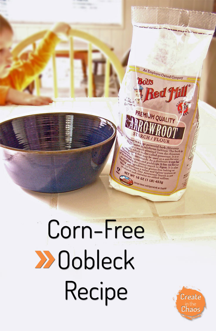Fun sensory activity for kids with food allergies - Corn free oobleck www.createinthechaos.com