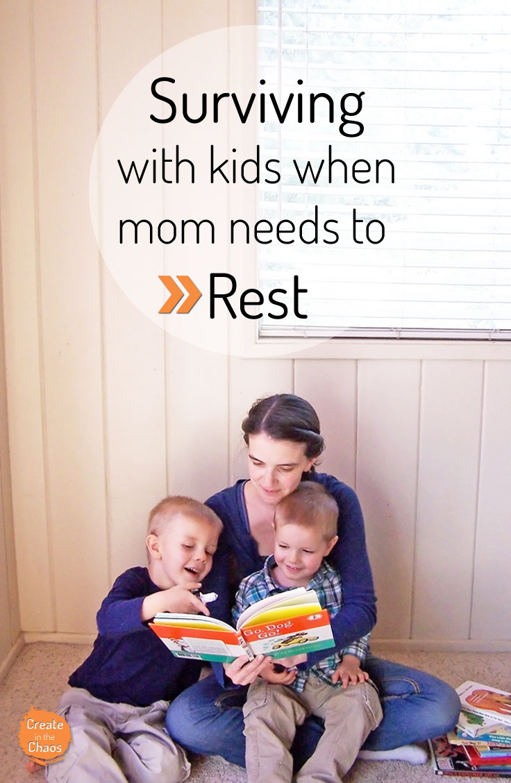 Tips and tricks for when you need to rest and are a stay-at-home mom www.createinthechaos.com