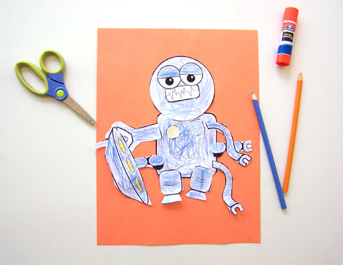 Easy kid's craft - Free printable build a robot craft www.createinthechaos.com