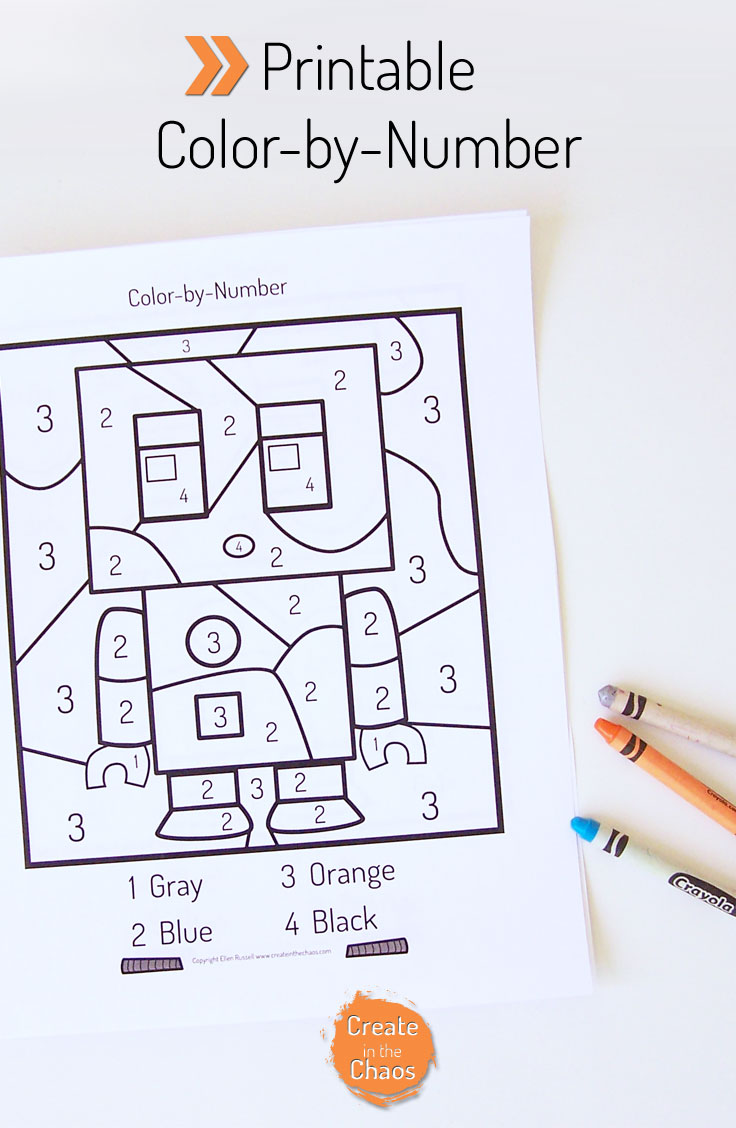Printable color by number Robot pages. Includes a color-by-number, and addition color by number. www.createinthechaos.com