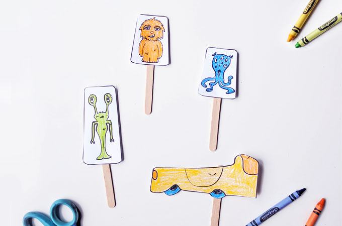 Printable Monster Popsicle Stick Puppets - an easy kids craft