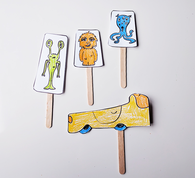 This is a graphic of Printable Puppets on a Stick with regard to 3 little pig