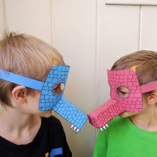 How fun is this printable dragon mask - it makes a great last-minute quick costume. Plus it's a fun papercraft for kids! | Create in the Chaos