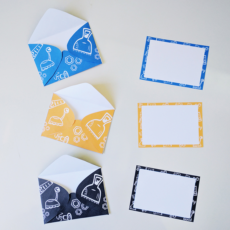 Printable robot notecards and envelopes