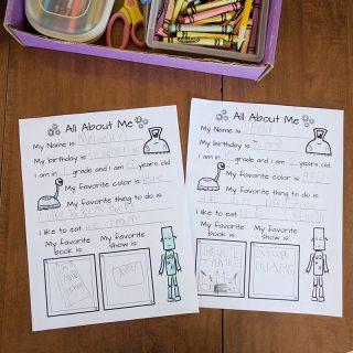 Printable school survey for kindergarten