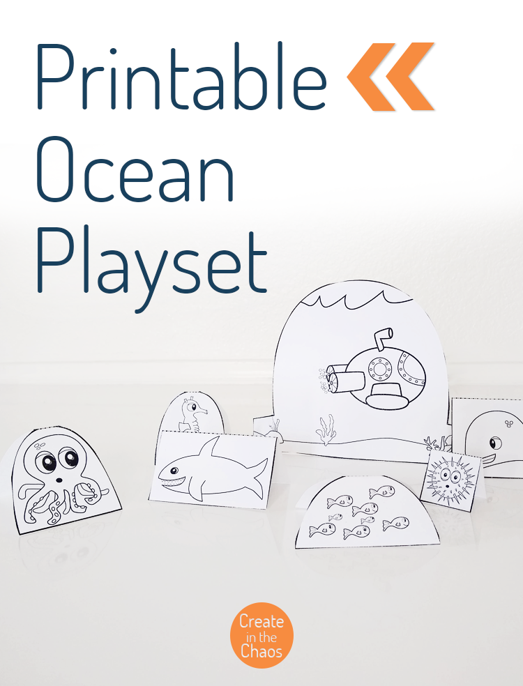 Free printable ocean papercraft for kids - perfect activity for your classroom while you're studying the ocean, or to use in the library with ocean books.