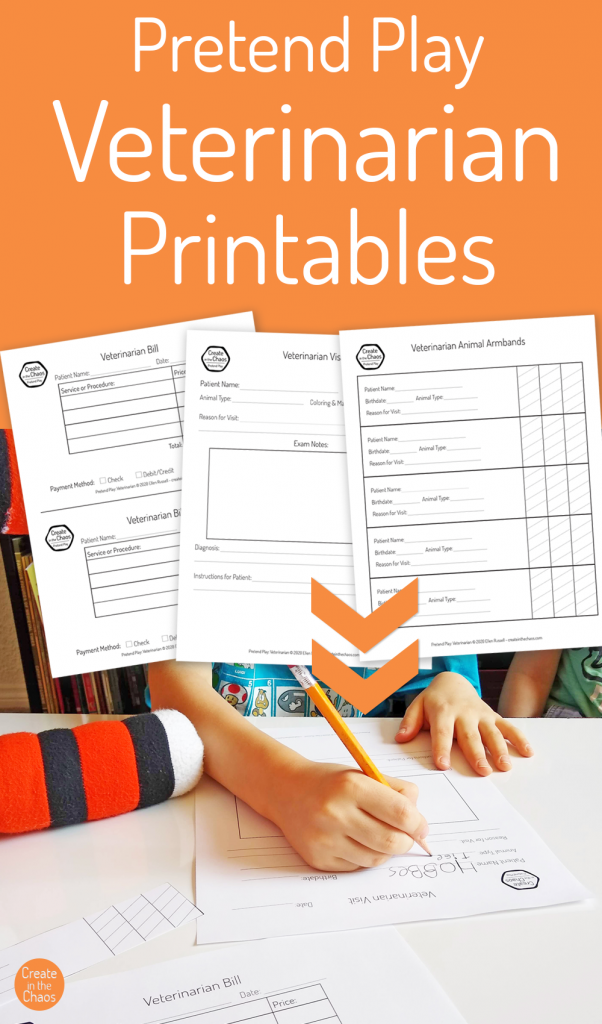 Free veterinarian printables for pretend play - Vet printables for your kiddo to use for pretend play fun! Includes animal armbands and pretend vet visit form.