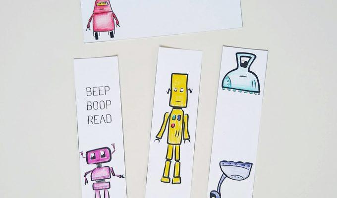 Printable Robot Bookmarks