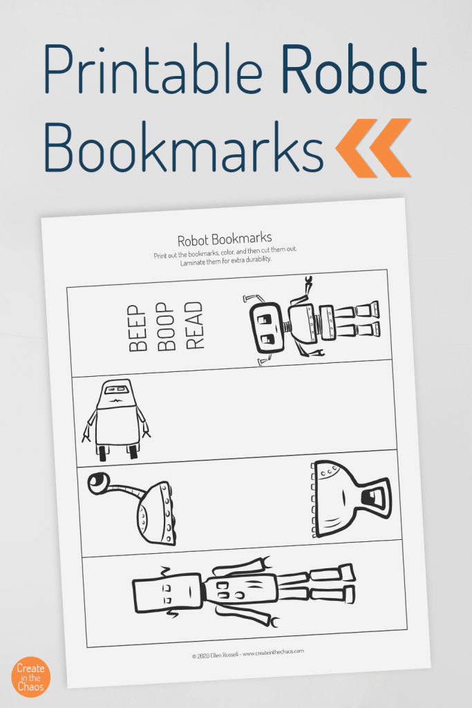 Free printable bookmarks for kids - cute robot bookmarks for your kiddos to color! Perfect to use at home or in the classroom.