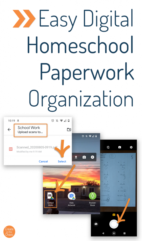All the kids paperwork and artwork from homeschool driving you crazy? Here's a simple and free solution to keeping everything organize digitally - and you don't even need a scanner to use it!