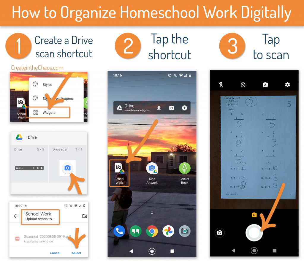 How to organize homeschool work digitally - without a scanner